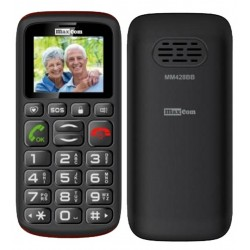 """Maxcom MM428BB (Dual Sim) 1.8"""" with Large Buttons, FM Radio (Works without Handsfree), Torch and Emergency Button Black"""