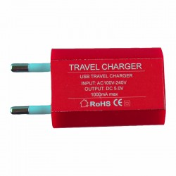 USB TRAVEL CHARGER mini 1000mA RED