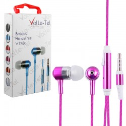 HANDS FREE UNIVERSAL 3.5mm 1.2m BRAIDED VT780 STEREO ON/OFF PINK VOLTE-TEL