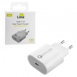 LIME TYPE C 3.0 PD FAST TRAVEL CHARGER QC 3.0 LTC14 21W 5V 4.0A /9V  2.4A WHITE